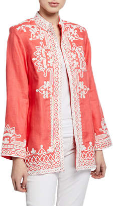 Bella Tu Ceci Open-Front Embroidered Jacket