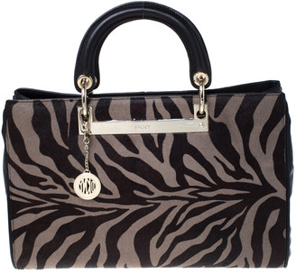 DKNY Black Tiger Print Calf Hair and Leather Tote