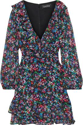 Saloni Jodie Floral-print Silk-georgette Mini Dress