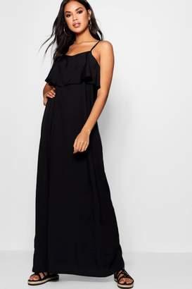 boohoo Stephie Cold Shoulder Ruffle Maxi Dress