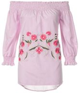 Quiz Pink And White Stripe Embroidered 3/4 Sleeve Top