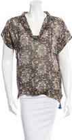 Figue Silk Abstract Print Top