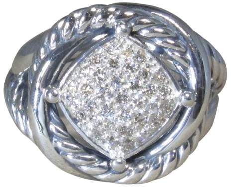 David Yurman Infinity Sterling Silver Pave Diamond Ring Size 7