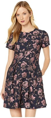 Vince Camuto Jacquard Short Sleeve Fit-and-Flare Dress (Pink Multi) Women's Dress