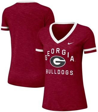 Nike Women's Heathered Red Georgia Bulldogs Performance Cotton Slub Retro Fan V-Neck T-Shirt