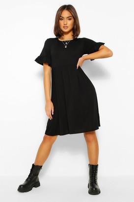 boohoo Basic Frill Sleeve Smock Dress