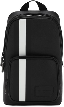 Bally Logo Stripe Faux Leather Backpack