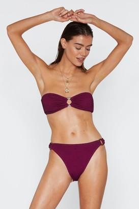 Nasty Gal Womens Ring It On Crinkle Bikini Bottoms - purple - 4