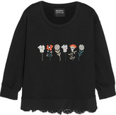 Markus Lupfer Embroidered cotton-terry and lace sweatshirt