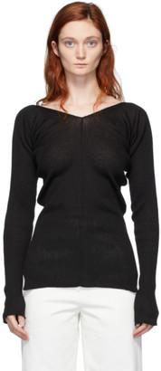 Low Classic Black Rib Knit V-Neck Sweater
