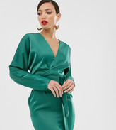 Asos Tall DESIGN Tall mini dress with batwing sleeve and wrap waist in satin