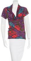 Lanvin Floral Print Draped T-Shirt
