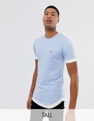 Le Breve Tall double layer t-shirt-Blue