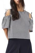 Petite Women's Topshop Gingham Tie Cold Shoulder Top