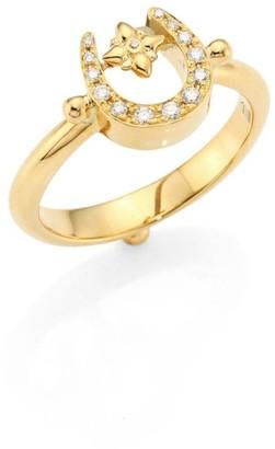 Temple St. Clair Mini Horseshoe Diamond & 18K Yellow Gold Ring