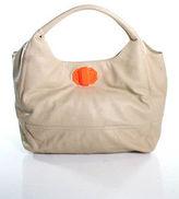 Deux Lux Beige Leather Hobo Handbag Size Extra Large