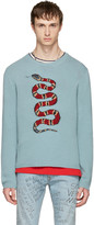 Gucci Blue Snake & Lightning Sweater