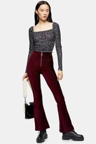 Topshop TALL Burgundy Corduroy Flare With Zip Pants