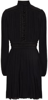 Zimmermann Paneled Linen And Swiss-dot Plisse-georgette Mini Dress