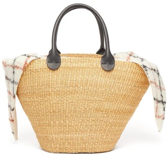 Muun Marlene Woven Straw Leather Basket Bag - Brown Multi