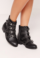 Missguided Studded Buckle Ankle Boot Black