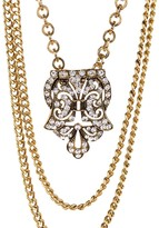 Yochi Vintage Pendant Multi Chain Necklace