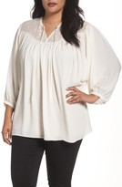 Sejour Plus Size Women's Embroidered Peasant Blouse