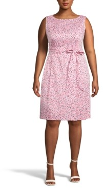 Anne Klein Plus Size Printed Belted Fit & Flare Dress