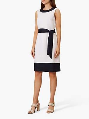 Hobbs Amalfi Linen Dress, White/Navy