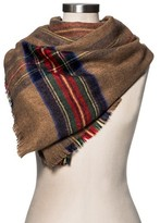 Merona Women's Blanket Scarf Camel and Red Plaid