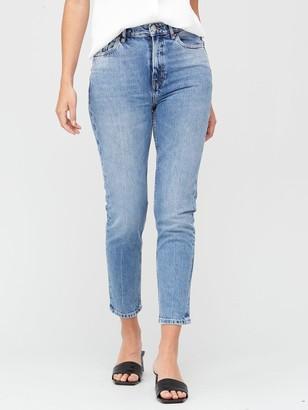 Very Premium High Waist Slim Leg Jeans - Mid Wash