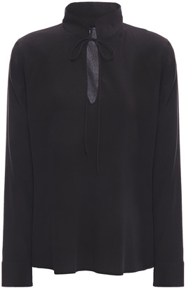 Giorgio Armani Bow-detailed Mulberry Silk Crepe De Chine Blouse