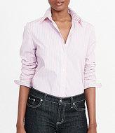 Lauren Ralph Lauren Striped Stretch-Cotton Collared Long Sleeve Button Front Shirt