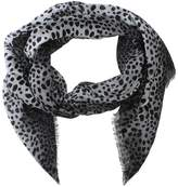Marc Jacobs Wild Cat Silver Silk Mix Scarf