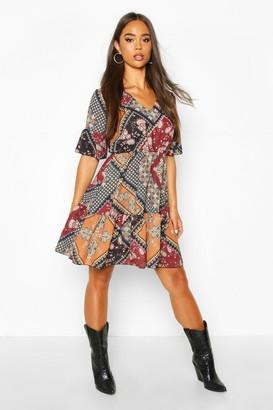 boohoo Paisley Print Flute Sleeve Skater Dress