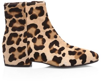 Aquatalia Ulyssaa Leopard-Print Calf Hair Ankle Boots