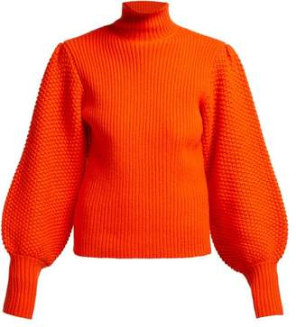 Chloé Balloon Sleeve High Neck Chunky Wool Blend Sweater - Womens - Red