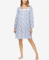 Eileen West Lace-Trimmed Printed Knit Nightgown