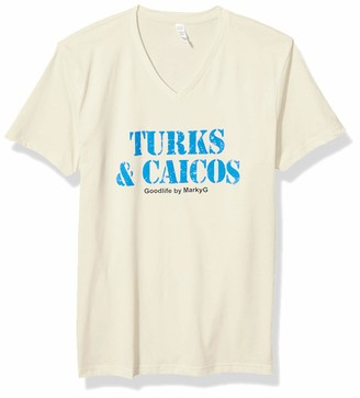 Marky G Apparel Men's Turks & Caicos Graphic Sueded V-Neck T-Shirt