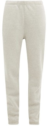 LES TIEN Brushed-back Cotton-jersey Track Pants - Grey