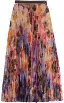 Christopher Kane Pleated Printed Lace Midi Skirt - IT44
