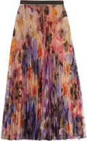 Christopher Kane Pleated Printed Lace Midi Skirt - Lilac