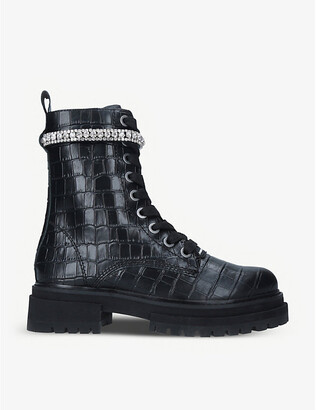 Kurt Geiger Siva Jewel croc-embossed leather boots