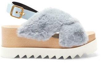 Stella McCartney Elyse Faux-shearling Platform Sandals - Light Blue