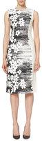 Carolina Herrera Sleeveless Floral Sheath Dress, Black/White