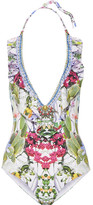 Camilla Exotic Hypnotic Embellished Printed Halterneck Swimsuit - Green