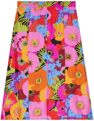 Gucci Online Exclusive Ken Scott print silk skirt