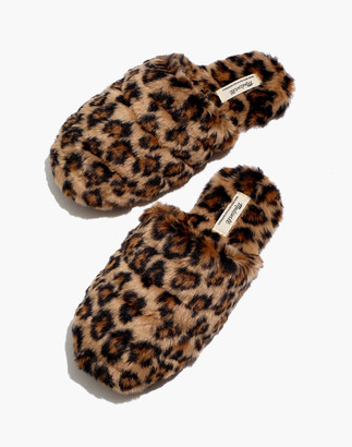 Madewell Quilted Scuff Slippers in Leopard Recycled Faux Fur