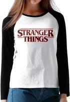 Hane Sea Women's Stranger Things Long Sleeve Neck T-Shirt Contrast Color