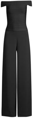 Herve Leger Off-The-Shoulder Crepe Jumpsuit